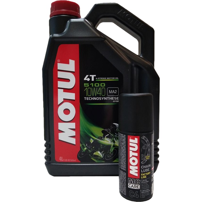 Моторное масло MOTUL 4T 5100 10W40 Technosynthese (4л) + C4 Chain Lube FL 0.100л (ПРОМОПАК)