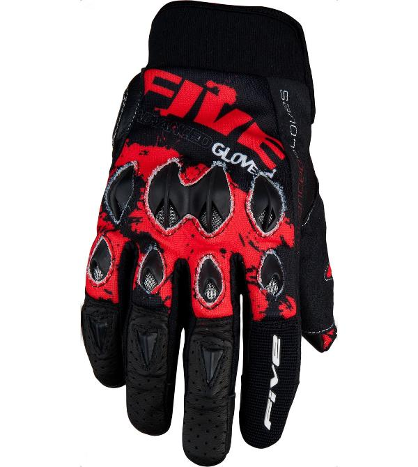 Перчатки FIVE, STUNT REPLICA Splash black/red XL